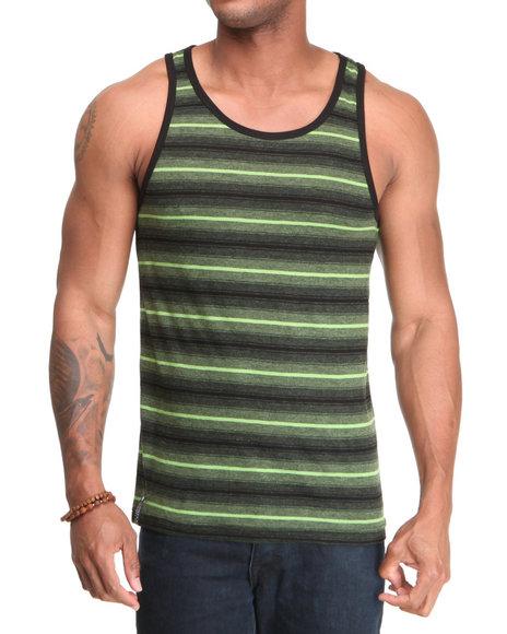 Company 81 Men Black,Lime Green Rey Striped Tank Top