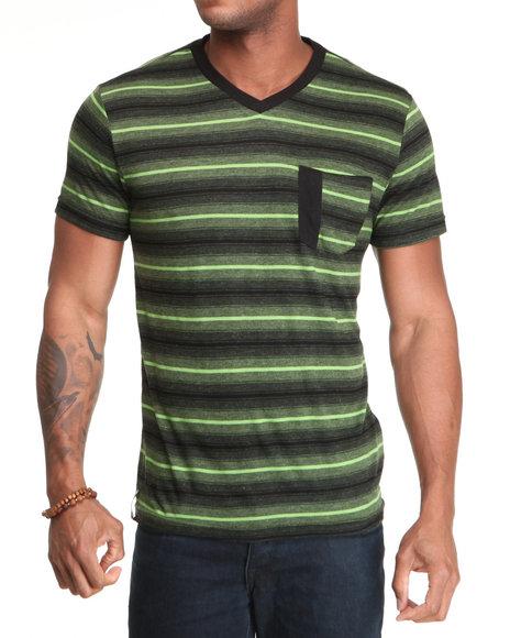 Company 81 Men Lime Green,Black Stripe V-Neck Tee