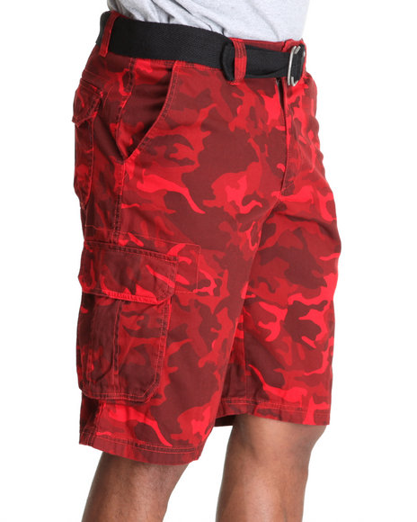 Mens Red Cargo Shorts