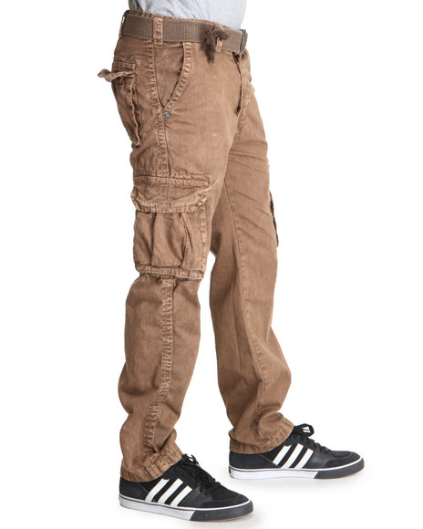 Buyers Picks Men Brown Italian Washed Premium Cargo Pants