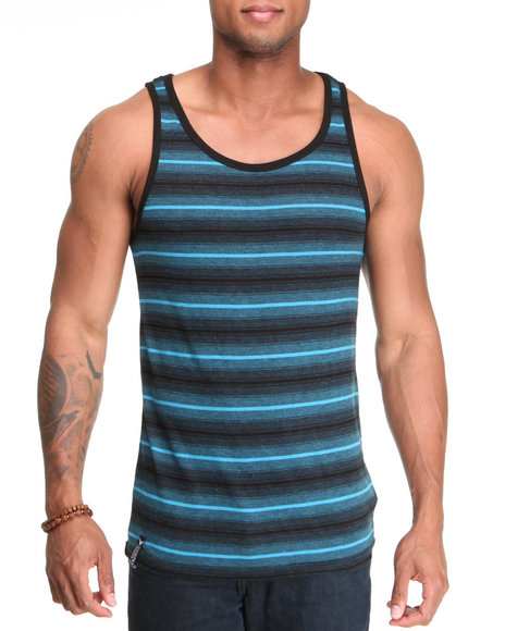 Company 81 Men Black,Blue Rey Striped Tank Top