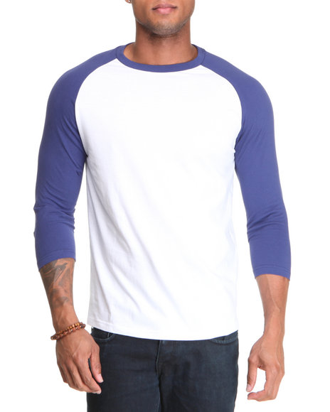 Basic Essentials - Men White,Blue 3/4 Sleeve Raglan Tee