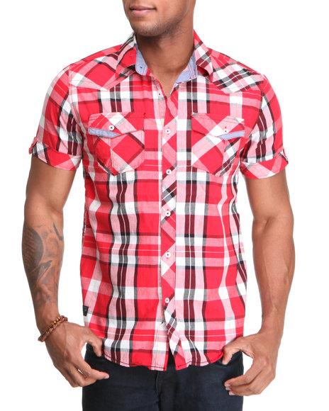 Company 81 Men Red Davin S/S Plaid Shirt