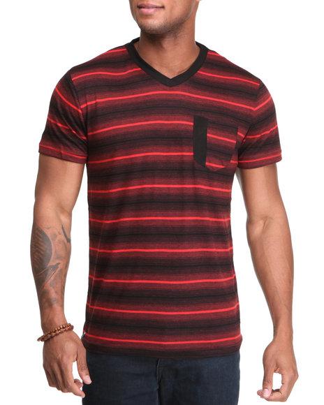 Company 81 Men Black,Red Stripe V-Neck Tee