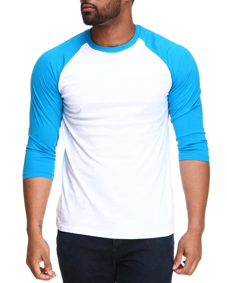 Basic Essentials - Men White,Light Blue 3/4 Sleeve Raglan Tee