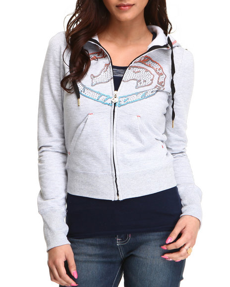 Ecko Red Women Grey Active Logo Hoodie