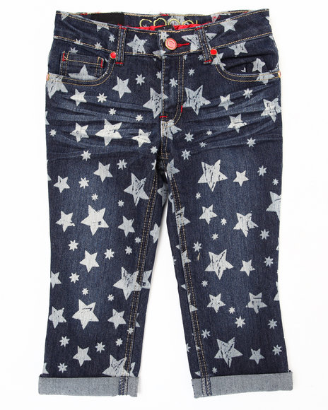 COOGI - Girls Dark Wash Star Print Denim Capri (2T-4T)