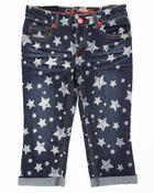 Bottoms - Star Print Denim Capri (2t-4t)