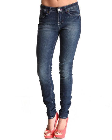 Ecko Red - Women Dark Wash Love Revolution Gold Trimmed Skinny Jean