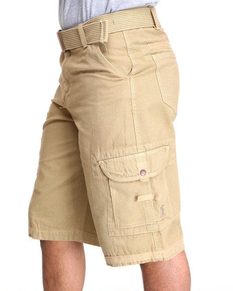 Akademiks - Men Khaki Frontier Oxford Belted Cargo Short