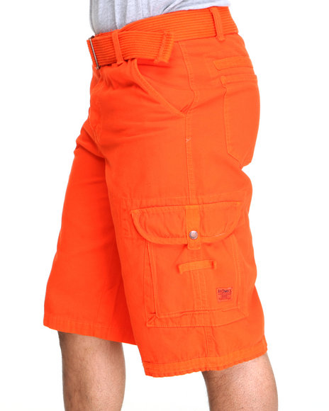 Akademiks - Men Orange Frontier Oxford Belted Cargo Short