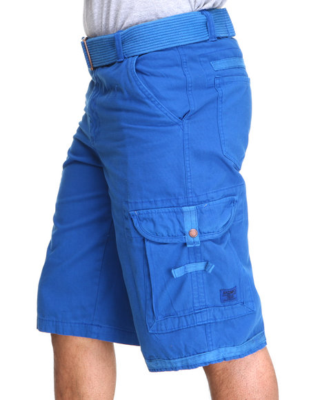 Akademiks - Men Blue Frontier Oxford Belted Cargo Short - $18.99