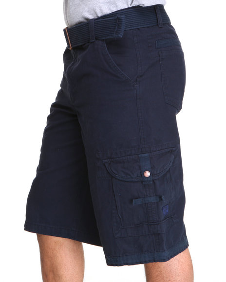 Akademiks - Men Navy Frontier Oxford Belted Cargo Short