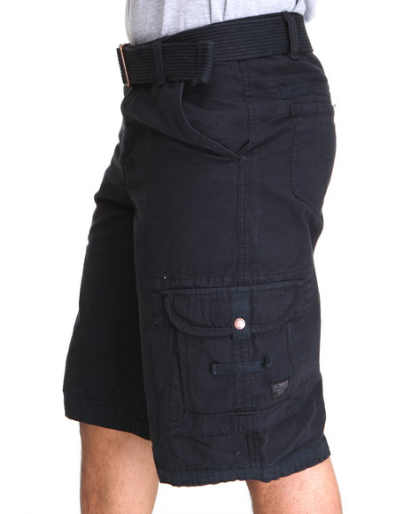 Akademiks - Men Black Frontier Oxford Belted Cargo Short