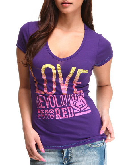 Ecko Red Women Purple Love Revolution Vneck Tee