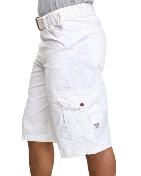 Akademiks - Men White Frontier Oxford Belted Cargo Short