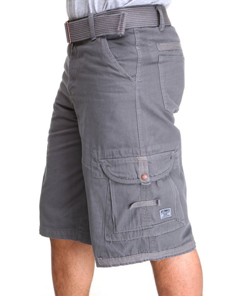 Akademiks - Men Charcoal Frontier Oxford Belted Cargo Short