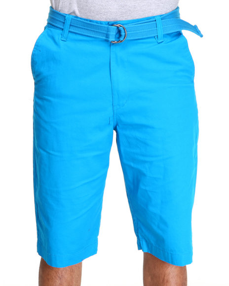 Akademiks Men Light Blue Geo Lt. Twill Belted Chino Short