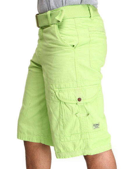 Akademiks - Men Lime Green Frontier Oxford Belted Cargo Short