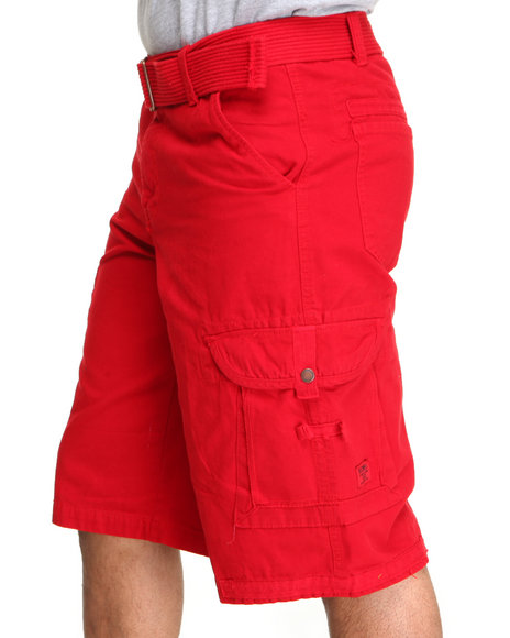 Akademiks - Men Red Frontier Oxford Belted Cargo Short