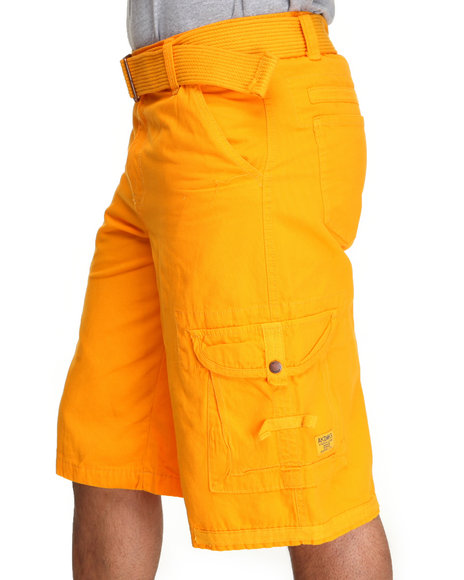 Akademiks - Men Yellow Frontier Oxford Belted Cargo Short