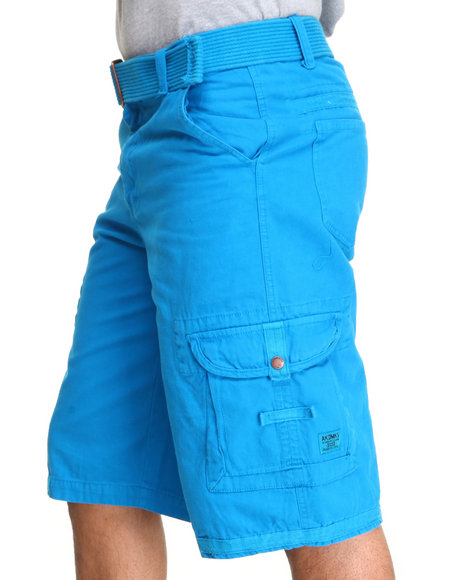 Akademiks Light Blue Frontier Oxford Belted Cargo Short
