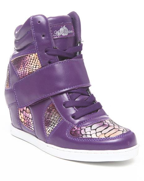 Apple Bottoms Women Purple Randi Rainbow Snake Wedge Sneaker