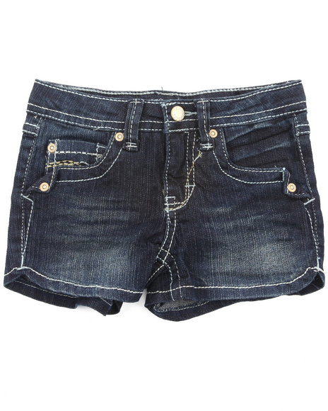 Z. Cavaricci Girls Dark Wash Denim Shorts W/ Side Slits (4-6X)