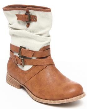 Fashion Lab - Kornelia Mix vegan leather & canvas ankle bootie w/strap