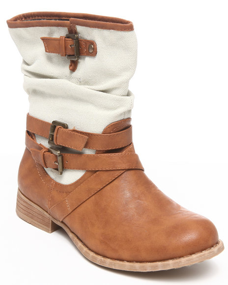 Fashion Lab - Kornelia Mix vegan leather & canvas ankle bootie w/strap