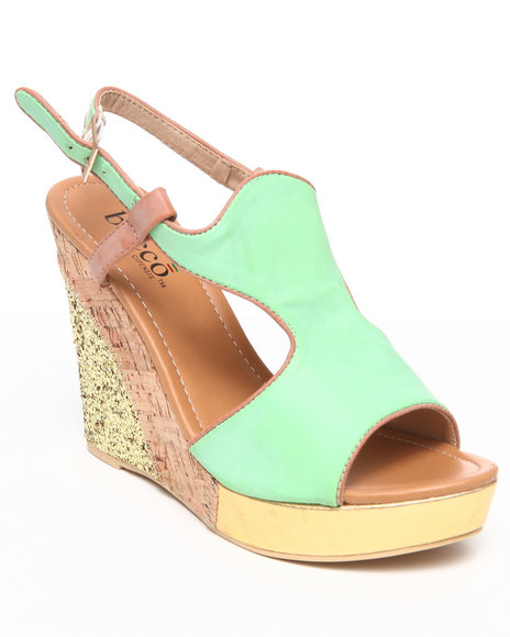 Fashion Lab - Women Green Athena Wedge Sandal W/Glitter Foil
