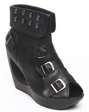 Wedges - Pita Donut Wedge Peep Toe W/skull strap detail