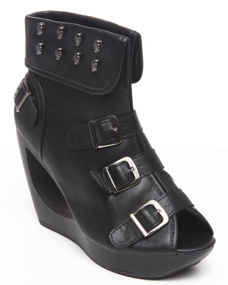 Fashion Lab - Women Black Pita Donut Wedge Peep Toe W/Skull Strap Detail