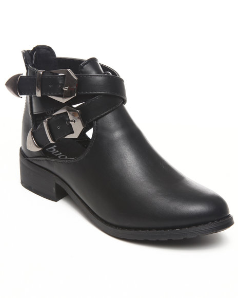 Fashion Lab - Yoshi Ankle bootie w/cutout straps buckle