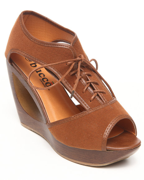 Fashion Lab - Women Brown Padme Donut Wedge Shoe W/Laceup