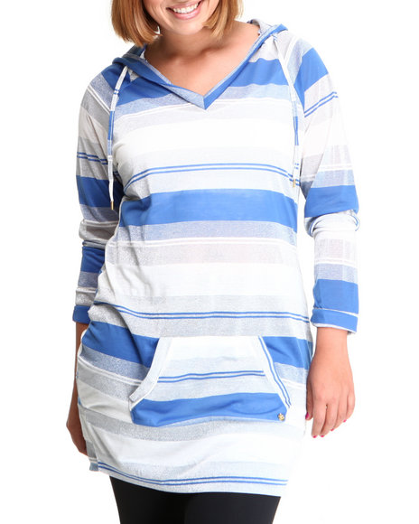 Apple Bottoms Women Blue Striped Sexy Hoodie Dress (Plus)