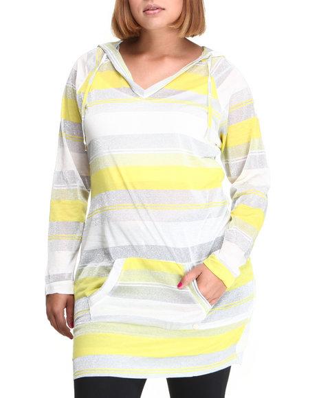 Apple Bottoms - Women Yellow Striped Sexy Hoodie Dress (Plus)