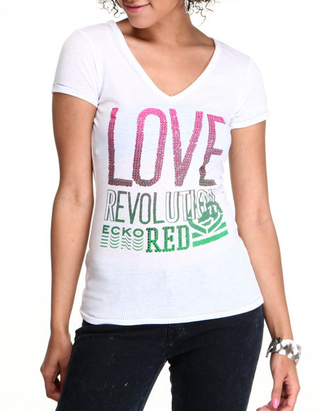 Ecko Red Women White Love Revolution Vneck Tee