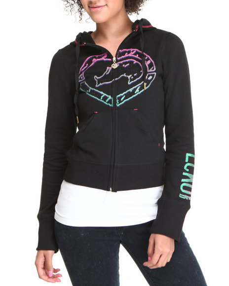Ecko Red Women Black Active Logo Hoodie