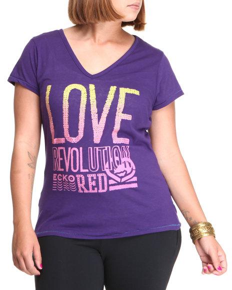 Ecko Red Women Purple Love Revolution V-Neck Tee (Plus Size)