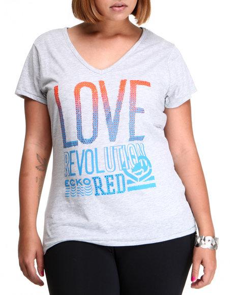 Ecko Red Women Grey Love Revolution V-Neck Tee (Plus Size)