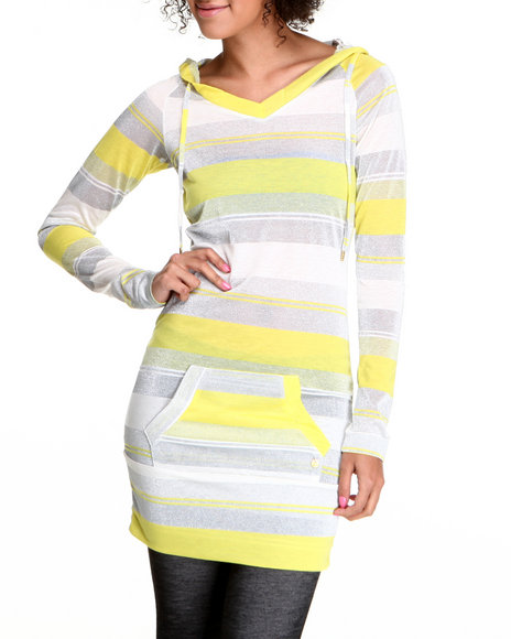 Apple Bottoms Women Silver,Yellow Striped Sexy Hoodie Dress