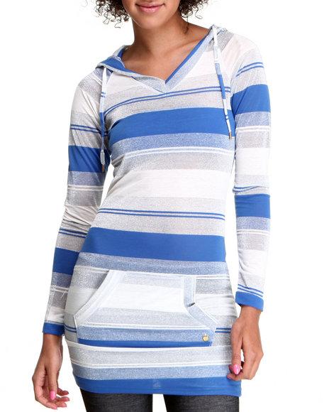 Apple Bottoms Women Blue,Silver Striped Sexy Hoodie Dress