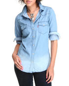 Polos & Button-Downs - Levi's Roll Up Sleeve Denim Button down
