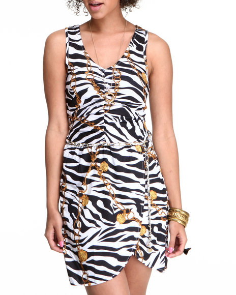 Apple Bottoms - Women Animal Print, White Animal Print Chain Belt Dress