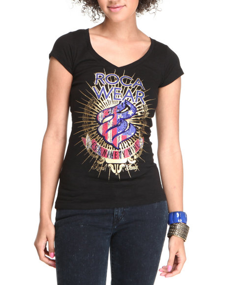 Rocawear Women Black Live Fast Sequins Logo S/S Tee