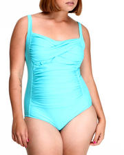 Plus Size - Shirred Maillo Swimsuit (plus)