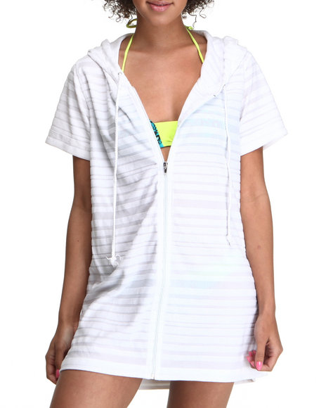 Basic Essentials Women White Mookie Hooded Swim Suit Cover Up