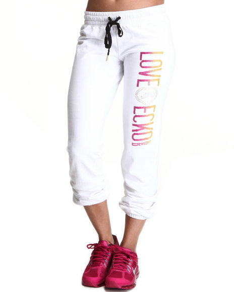 Ecko Red Women White Active Logo Roll Up Pant