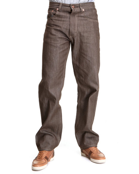 Buyers Picks Men Brown Color Raw 5 Pocket Denim Jeans